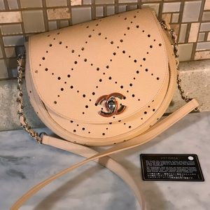 Auth. Chanel Warm Beige Perforated Saddle Flap Bag